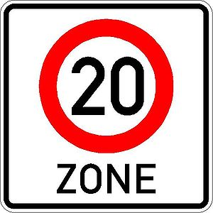 Sign No. 274.1 – start of 20 km/h speed limit zone