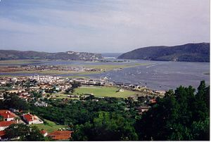 View over the town of Knysna and lagoon with t...