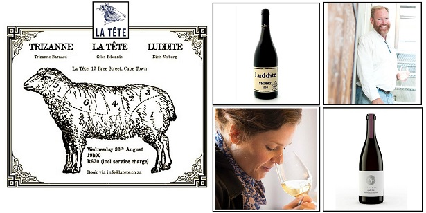 La Tete – Food and Wine Evening, featuring Trizanne and Luddite Wines.