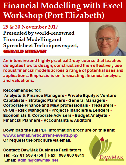 Financial Modelling with Excel Workshop MyZA