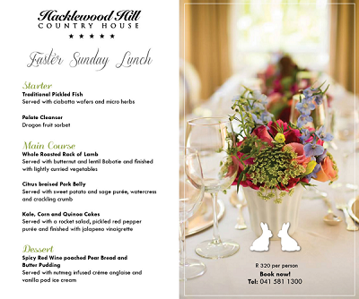 Easter Sunday Lunch at Hacklewood Hill Country House