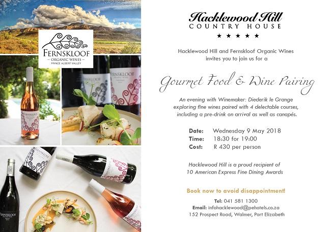 Hacklewood & Fernskloof Organic Wines - Gourmet Food & Wine Pairing
