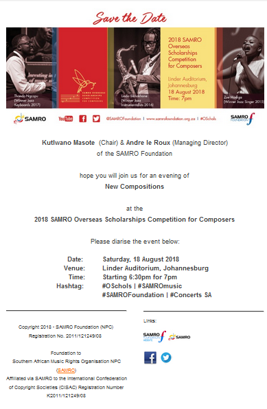 2018 SAMRO Overseas Scholarships Competition For Composers MyZA